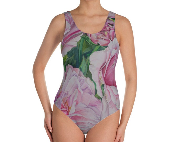 Pink Floral - One-Piece Swimsuit, Watercolor Painting on Swimwear