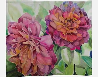 FLEECE BLANKET- TWO Flowers, Watercolor Painting on Blanket