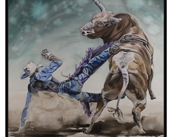 ART PRINT - FREE shipping- Watercolor Painting of Bull Rider