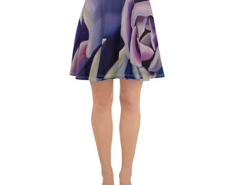 Succulent Watercolor Painting on Skater Skirt- Painting on Clothing
