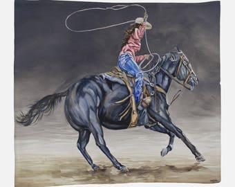 FLEECE BLANKET- COWGIRL Roping, Western Watercolor on Blanket