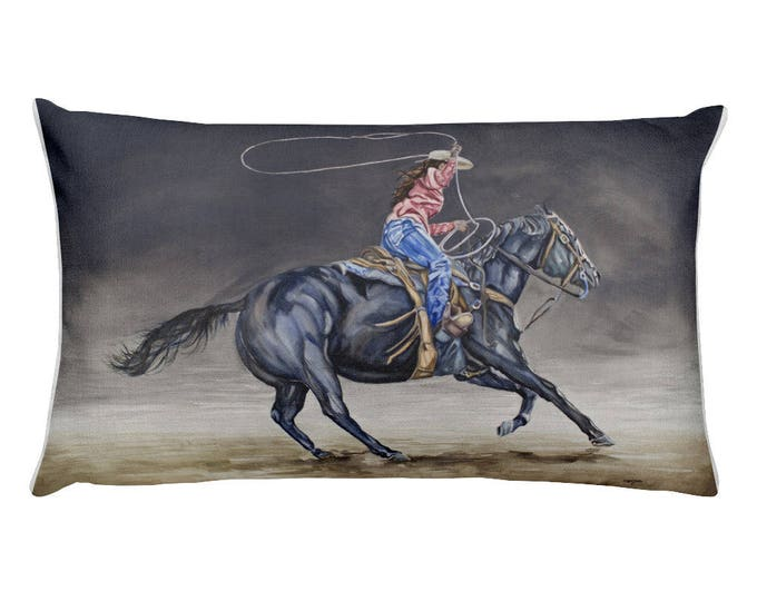 Cowgirl Roping Rectangular Pillow