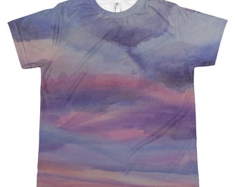 Desert Sunset All-over youth sublimation T-shirt, Watercolor Painting on Kids Shirt