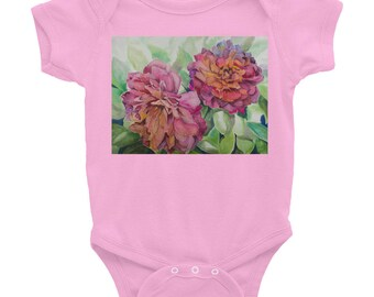 Infant Bodysuit, Two Flowers, Watercolor Painting on Baby Wear