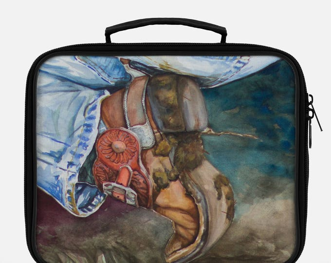 LUNCH BOX - COWBOY Boot, Western Watercolor on lunch box, Painted Lunch Box
