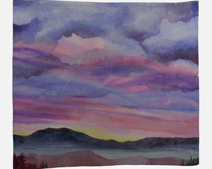 FLEECE BLANKET- DESERT Landscape Watercolor on Blanket