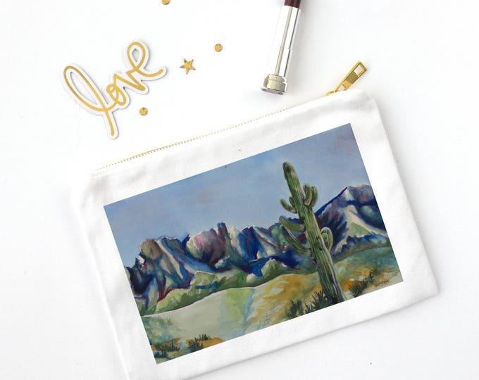 COSMETIC BAG- DESERT Cactus, watercolor on painting on bag