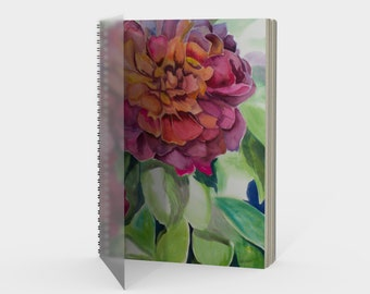 Two Flowers Spiral- Watercolor Painting on Sketch Book, Drawing Book, Note book