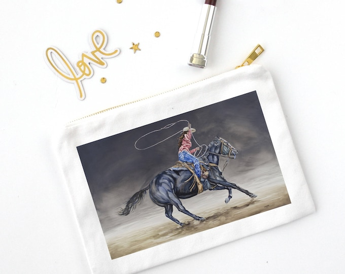 COSMETIC BAG- COWGIRL Roping, Watercolor painting on bag