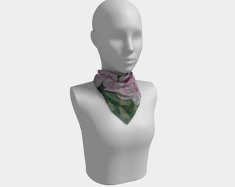 Pink Floral Square Scarf - Watercolor Painting on Scarf