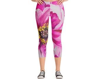 Succulent Capri Leggings - Watercolor Painting on leggings