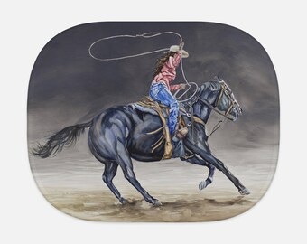 SUN SHADE - Cowgirl Roping, western watercolor, painting on shade