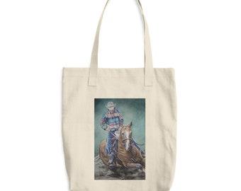 Cowboy Riding a Horse- Cotton Tote Bag