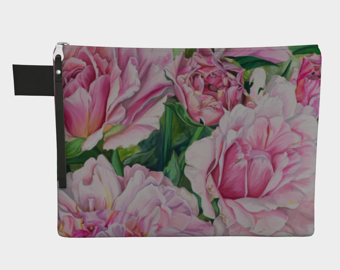Pink Floral Pouch - Cosmetic bag, Watercolor Painting on bag