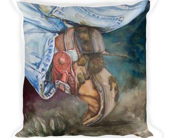 Cowboy Boot Square Pillow