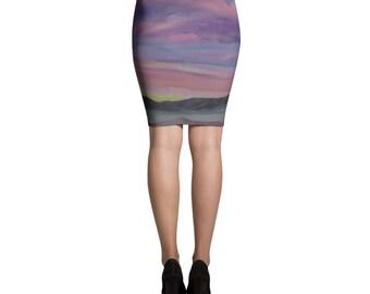 Pencil Skirt- Desert Landscape, Watercolor Painting on Skirt