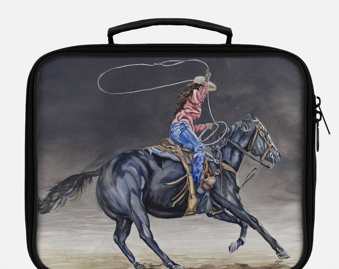 LUNCH BOX- COWGIRL Roping, Western Watercolor on Lunch Box, Cool Bag