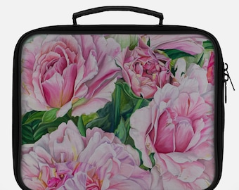 LUNCH BAG- Pink Floral Painting on Lunch Bag, Cool Bag
