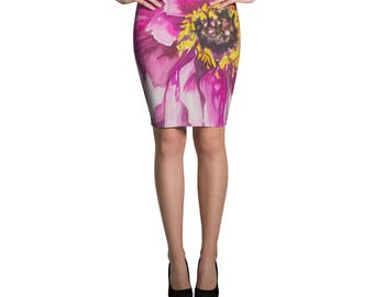 Pink Flower Pencil Skirt