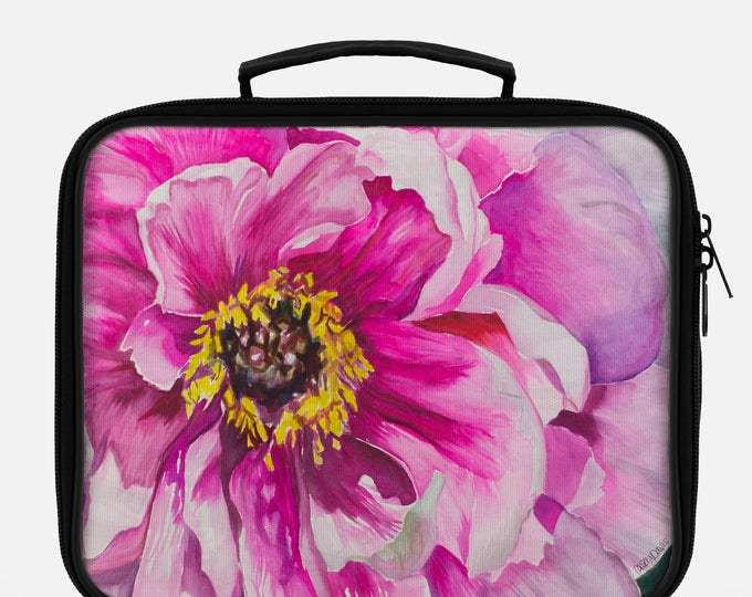 LUNCH BOX- PINK Flower, Watercolor on Painting on Lunch Box, Cool Box