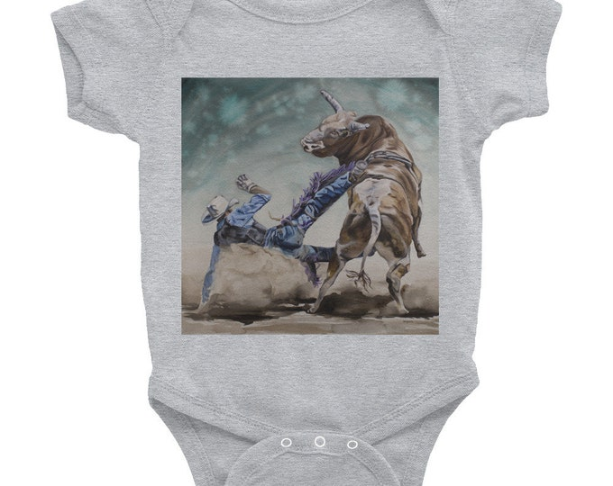 Infant Bodysuit- Bull Rider Watercolor Painting on Baby Wear