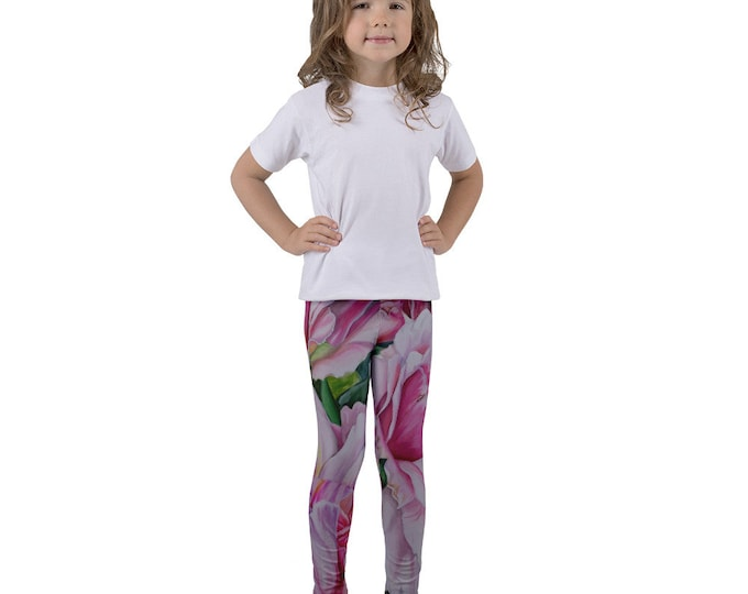Pink Floral - Kid's leggings, Watercolor Painting on Leggings
