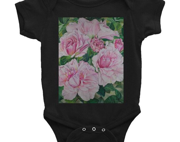 Pink Floral - Infant Bodysuit, Watercolor Painting on Onesie