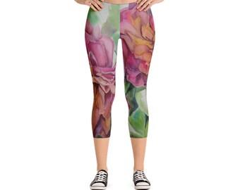Two Flowers- Capri Leggings Watercolor Painting on leggings