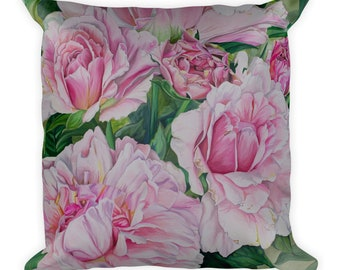 Pink Floral - Decorative Pillow- Throw Pillow - Watercolor Painting on Pillow