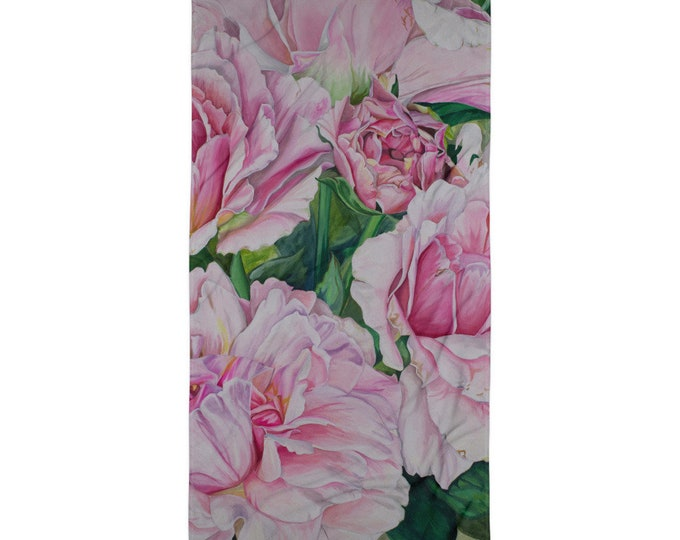 Pink Floral - Towel, Watercolor Painting on Beach Towel
