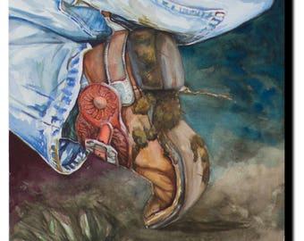 ART PRINT - FREE shipping- Cowboy Boot, western art, watercolor
