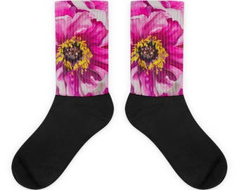 Pink Flower Socks