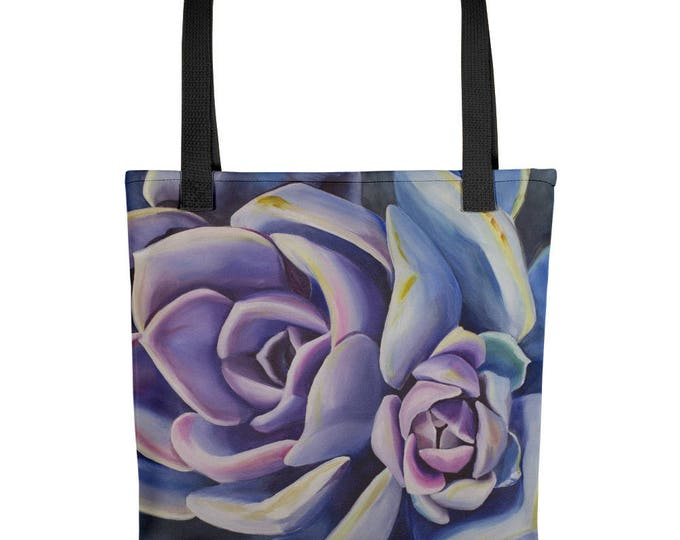 Succulent Tote bag, watercolor painting on Tote