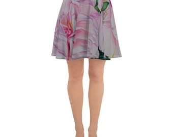 Floral Watercolor Painting on Skater Skirt- Art on Clothing