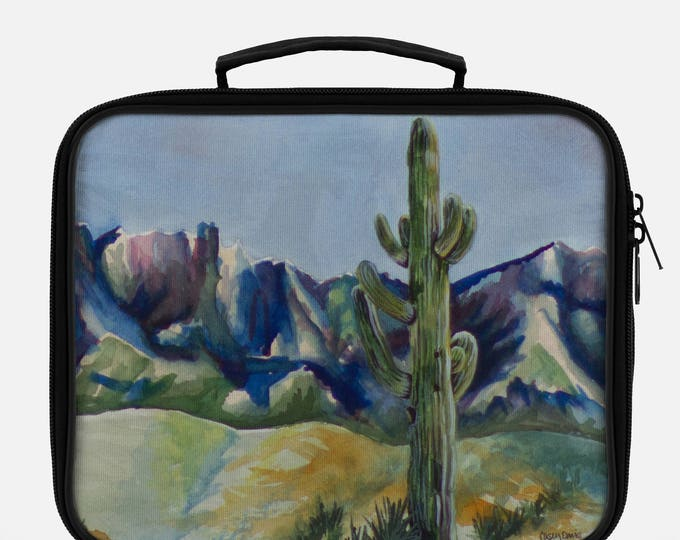 LUNCH BOX- DESERT Cactus Painting on Lunch Box, cool bag