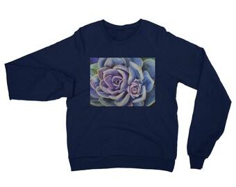 Succulent Unisex California Fleece Raglan Sweatshirt- Watercolor Painting on Sweatshirt