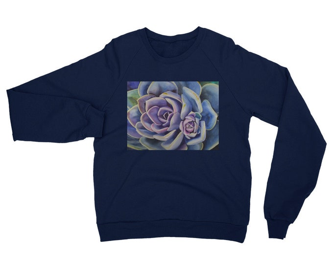Succulent Unisex California Fleece Raglan Sweatshirt- Watercolor Painting on Sweatshirt