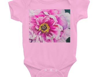 Infant Bodysuit, Pink Flower, Watercolor Painting on Baby Wear