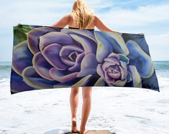 Succulent Towel- Watercolor Painting on Towel