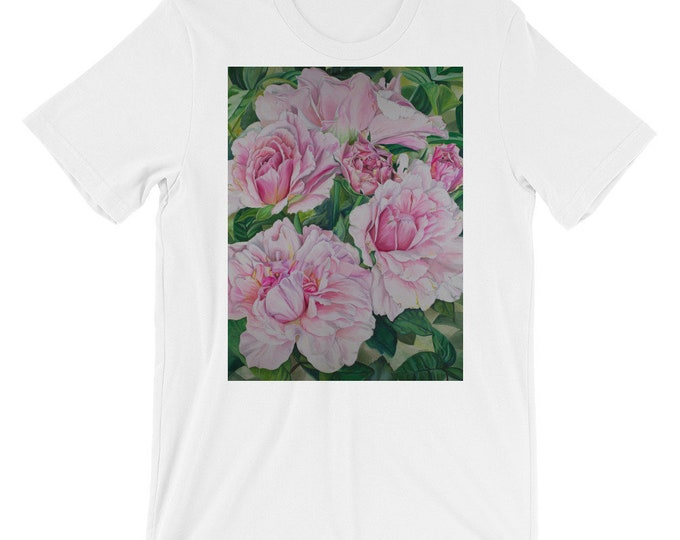 Pink Floral - Short-Sleeve Unisex T-Shirt, Watercolor Painting on Shirt