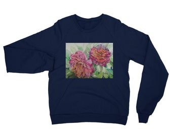 Two Flowers Unisex California Fleece Raglan Sweatshirt- Watercolor Painting on Sweatshirt