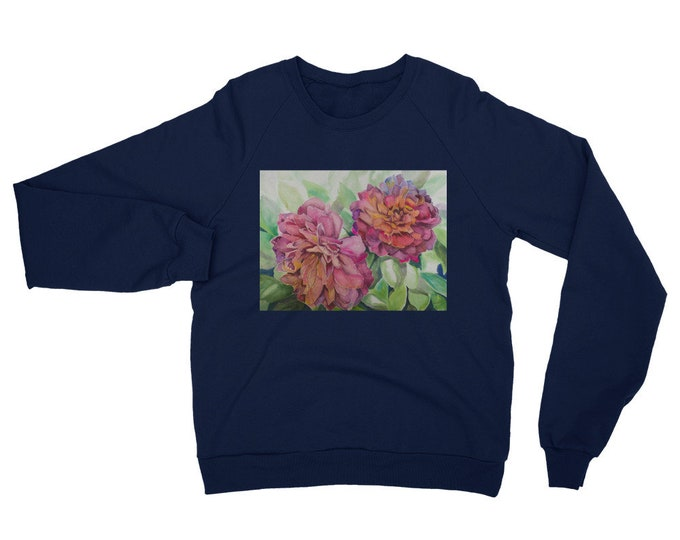 Two Flowers Unisex California Fleece Raglan Sweatshirt- Watercolor Painting on Sweatshirt