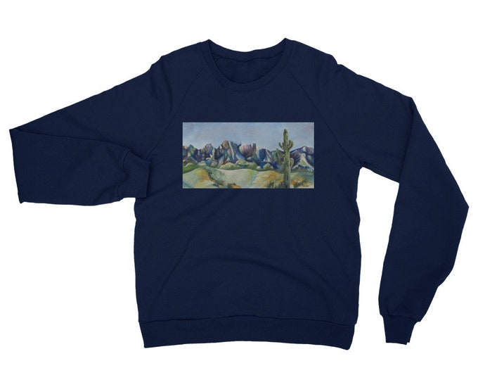 Desert Cactus Unisex California Fleece Raglan Sweatshirt- Watercolor Painting on Sweatshirt