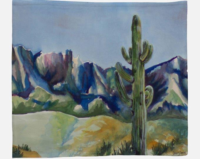 FLEECE BLANKET- DESERT Cactus, Watercolor Painting on Blanket