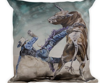 BULL RIDER - Square Pillow, Watercolor Painting on Pillow, Decor