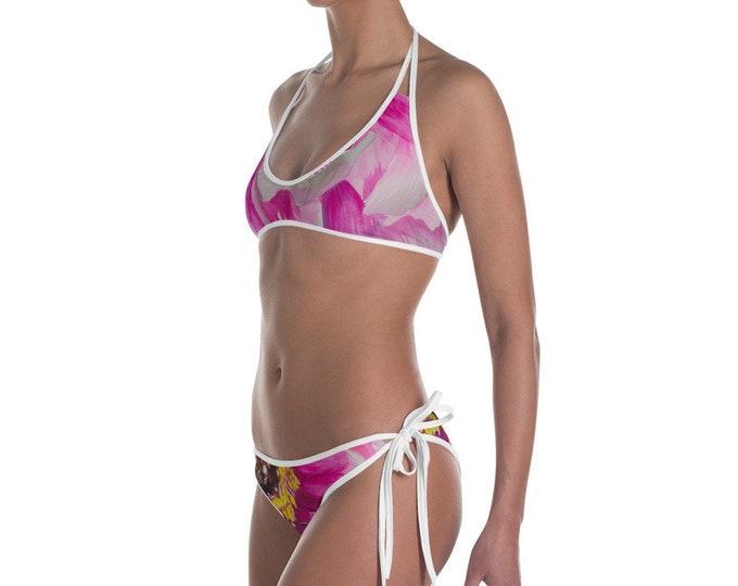 Pink Flower Bikini- Watercolor Painting on Bathing Suit