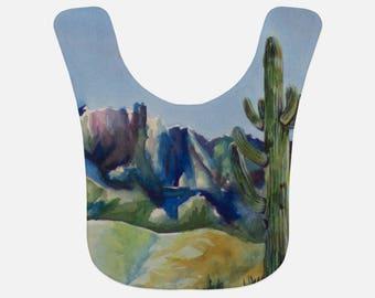 BABY BIB- DESERT Cactus, Watercolor Painting on Baby Bib