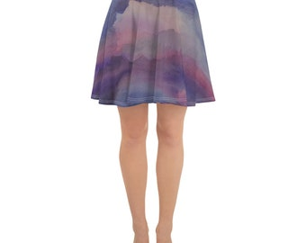 Sunset Watercolor Painting on Skater Skirt- Panting on Clothing