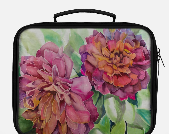 LUNCH BAG- TWO Flowers Painting on Lunch Bag, Cool Bag