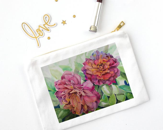 COSMETIC BAG- TWO Flowers, Watercolor Painting on bag